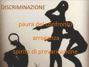 DISCRIMINAZIONE. paura del confronto. arroganza. spirito di prevaricazione.